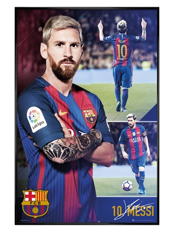 Gloss Black Framed Messi Collage - Barcelona