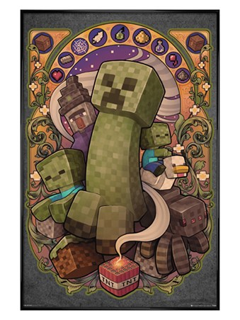 Gloss Black Framed Creeper Nouveau - Minecraft