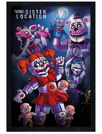 Black Wooden Framed Sister Location - Five Nights At Freddy's