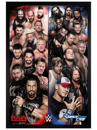 Black Wooden Framed Raw V Smackdown Framed Poster