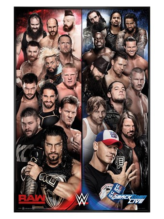 Gloss Black Framed Raw vs Smackdown - WWE