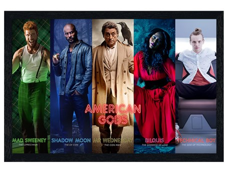 Black Wooden Framed Character Collage - American Gods
