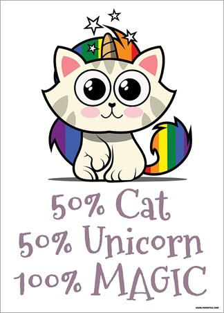 Rainbow Kitty - 50% Cat, 50% Unicorn, 100% Magic