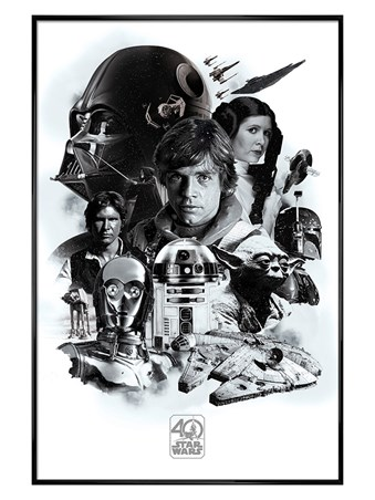 Gloss Black Framed 40th Anniversary Montage - Star Wars