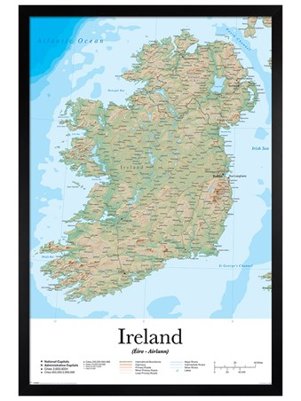 Black Wooden Framed Emerald Isle - Ireland Map