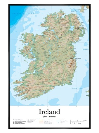 Gloss Black Framed Emerald Isle - Map Of Ireland