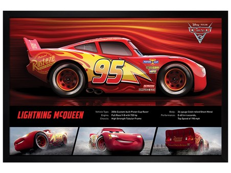 Black Wooden Framed Lightning McQueen Stats - Cars 3