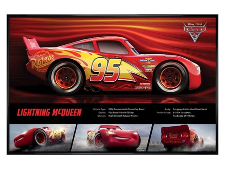 Gloss Black Framed Lightning McQueen Stats - Cars 3