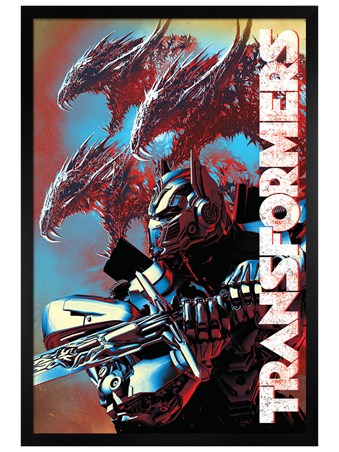 Framed Black Wooden Framed The Last Knight Dragons - Transformers
