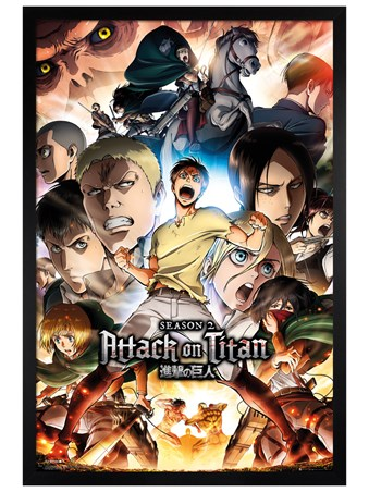 Black Wooden Framed Season 2 - Attack On Titan