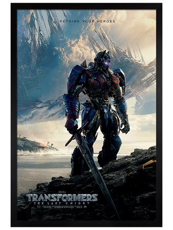 Black Wooden Framed Rethink Your Heroes - Transformers The Last Knight