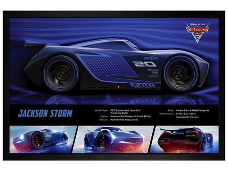 Black Wooden Framed Jackson Storm Stats - Cars 3