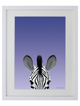White Wooden Framed Zebra - Inquisitive Creatures