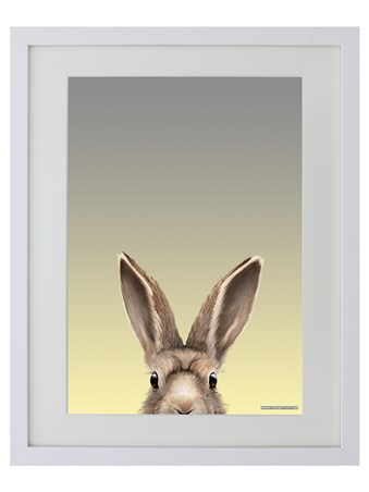 White Wooden Framed Hare - Inquisitive Creatures