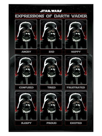 Framed Gloss Black Framed Expressions of Darth Vader - Star Wars