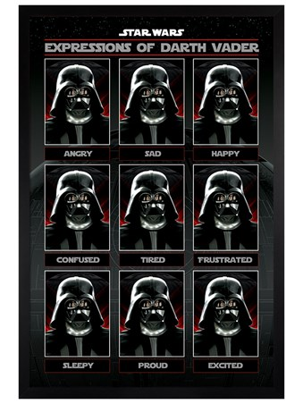 Black Wooden Framed Star Expressions of Darth Vader - Star Wars