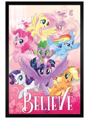Black Wooden Framed Believe - My Little Pony Movie