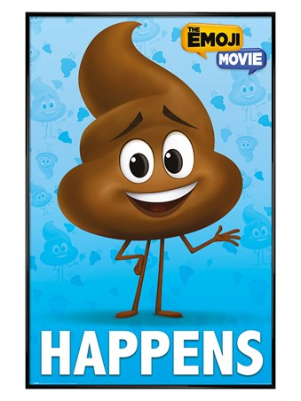 Gloss Black Framed Poop Happens - The Emoji Movie