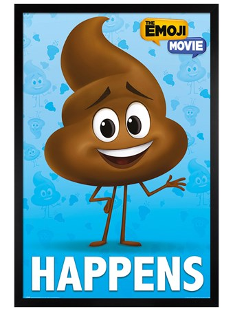 Black Wooden Framed Poop Happens - The Emoji Movie