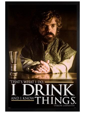 Framed Black Wooden Framed Tyrion Drink Quote - Game of Thrones