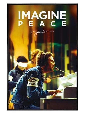 Gloss Black Framed People For Peace - John Lennon