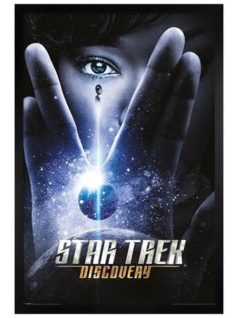 Black Wooden Framed Discovery International One Sheet - Star Trek