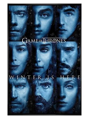 Framed Gloss Black Framed Winter is Here - Game Of Thrones