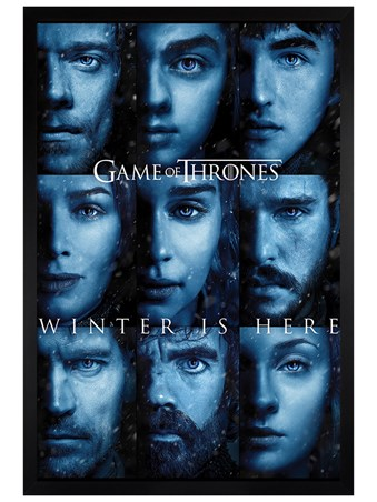 Black Wooden Framed Winter is Here - Game Of Thrones