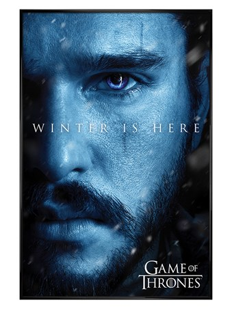 Framed Gloss Black Framed Winter is Here Jon - Game Of Thrones