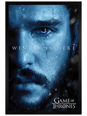 Black Wooden Framed Winter is Here Jon - Game Of Thrones