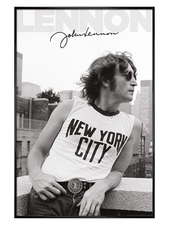 Gloss Black Framed NYC Profile - John Lennon