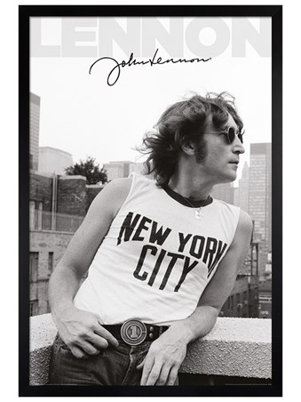 Black Wooden Framed NYC Profile - John Lennon