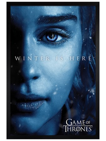Black Wooden Framed Winter is Here - Daenerys - Game Of Thrones