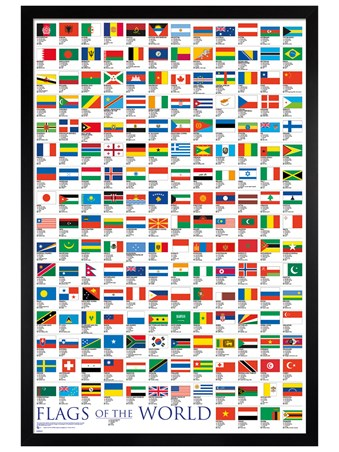 Black Wooden Framed Flags Of The World - Educational