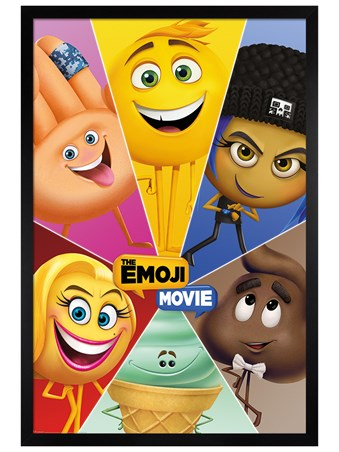 Black Wooden Framed Star Characters - The Emoji Movie