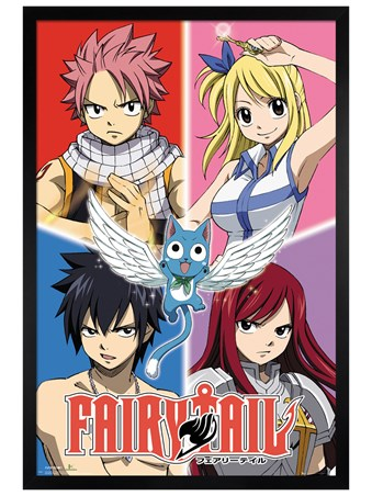 Black Wooden Framed Quad - Fairy Tail