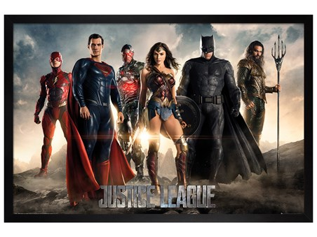 Framed Black Wooden Framed Character Line-Up - Justice League