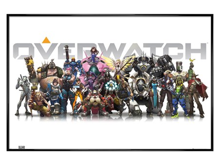 Framed Gloss Black Framed They're All Here - Overwatch Characters