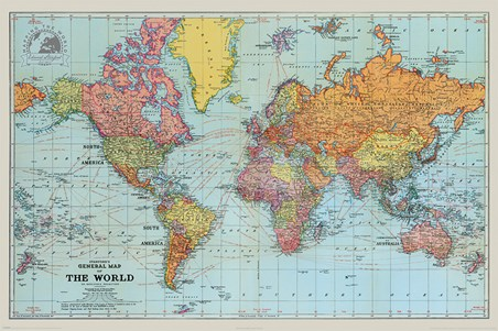 General Map Of The World Colour, Stanfords