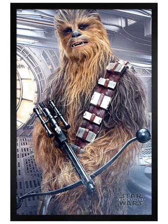 Framed Black Wooden Framed Chewbacca Bowcaster - Star Wars The Last Jedi