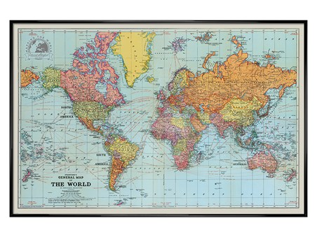 Gloss Black Framed General Map Of The World Colour - Stanfords