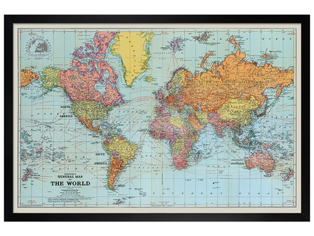 Framed Black Wooden Framed General Map Of The World Colour - Stanfords