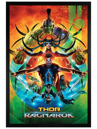 Black Wooden Framed One Sheet - Thor Ragnarok