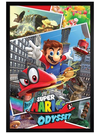 Framed Black Wooden Framed Odyssey Collage - Super Mario