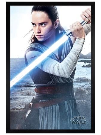 Black Wooden Framed Rey Engage - Star Wars The Last Jedi