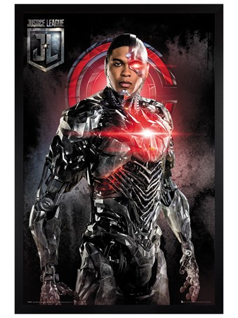 Black Wooden Framed Cyborg Solo - Justice League