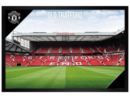 Black Wooden Framed Old Trafford 17-18 - Manchester United