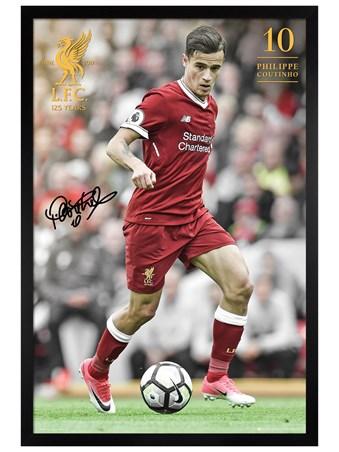 Framed Black Wooden Framed Coutinho 17-18 - Liverpool FC