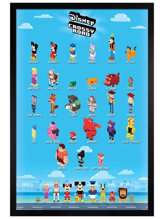 Black Wooden Framed Crossy Characters - Crossy Road
