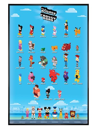 Gloss Black Framed Crossy Characters - Disney Crossy Road